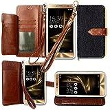 エイスース SIMフリースマートフォン ZenFone 3 Deluxe ZS550KL ケース 手帳型 カバー 手帳型 【TREND】お洒落な2トーンカラー オリジナルハンドストラップ&ネックストラップ付 3点セット PUレザー&高品質アンチグレアTPUケースを使用した手帳型PUレザーケースダークブルー