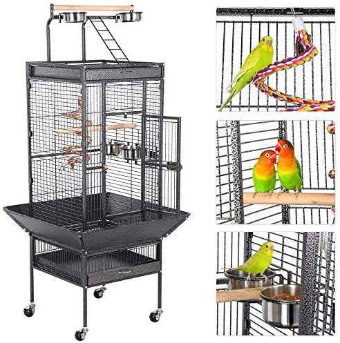 Yaheetech 61-inch Rolling Wrought Iron Large Parrot Bird Cage for Small Parrot Quaker Cockatiel Sun Parakeet Green Cheek Conure Dove Lovebird Play Top Bird Cage with Stand Renewed