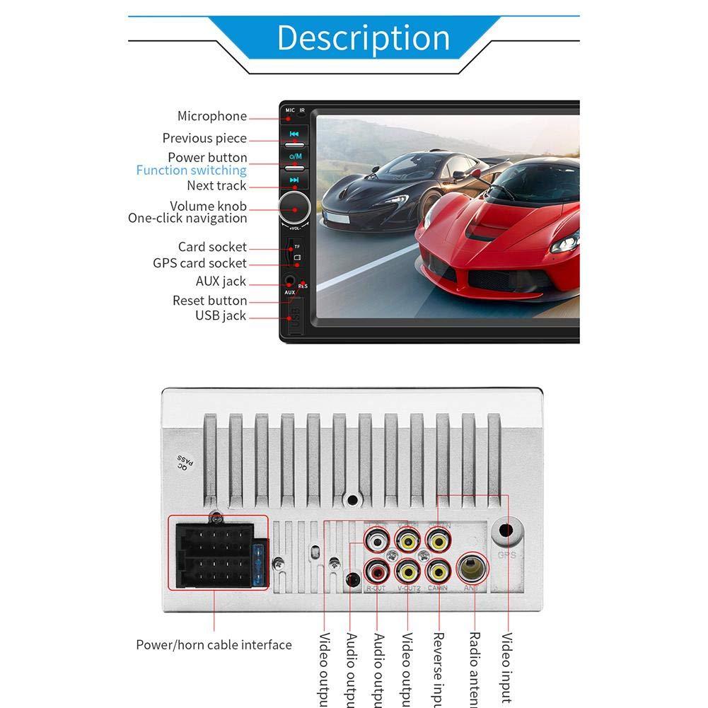 Autoradio Bluetooth con Navigatore GPS Telecamera per Retromarcia Stereo 2 DIN da 7 Pollici Compatibile con Microfono//Vivavoce Bluetooth//AM//FM//RDS//USB//TF//AUX in//Uscita