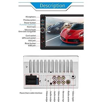 Miss de a 7 Pulgadas 2 DIN Radio de Coche con GPS Navegaci/ón soporta MirrorLink//Bluetooth Manos Libres//Am//FM//RDS//USB//TF//AUX EN//Salida Opcional Marcha atr/ás