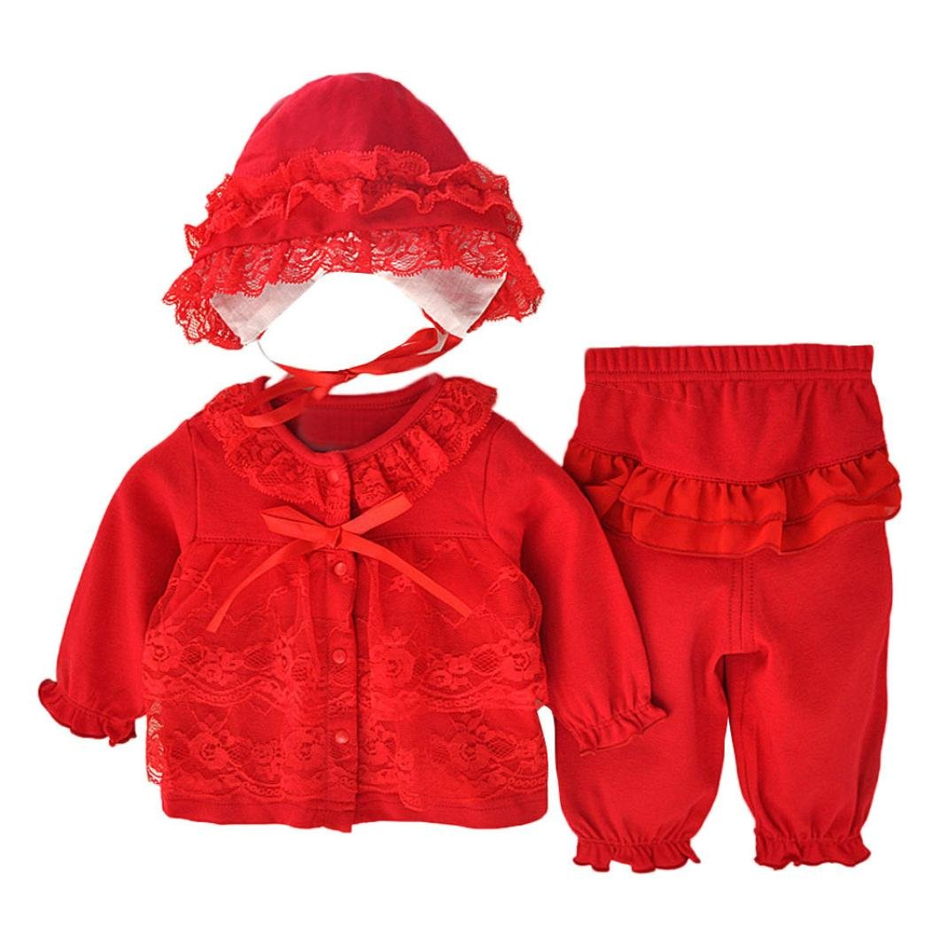 Allywit Newborn Infant Baby Girls Clothing Lace Cardigan+Long Pant+Cap Hat Set Outfit