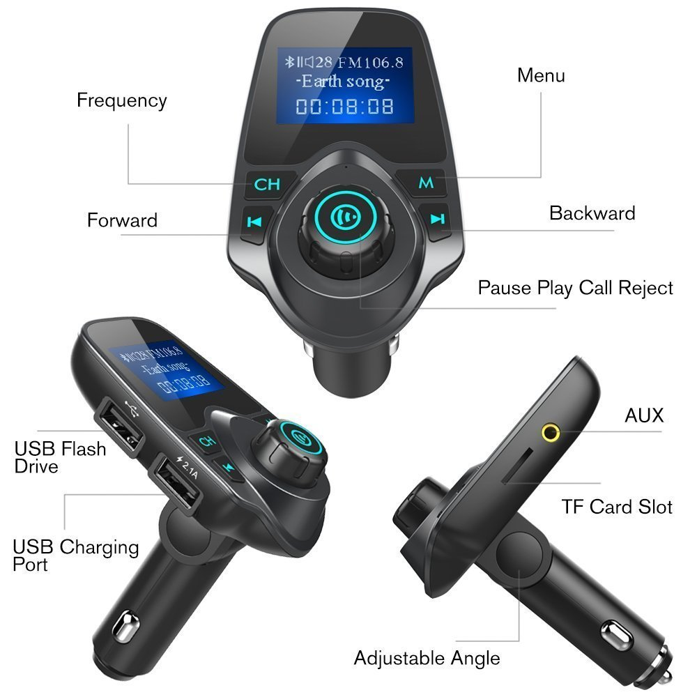 """Music Player Support TF Card USB Flash Drive AUX Input//Output chuanglangxin 4351497830 Wireless Bluetooth Radio Transmitter Adapter with Hand-Free Calling and 1.44/"""" LCD Display Bluetooth FM Transmitter for Car"""