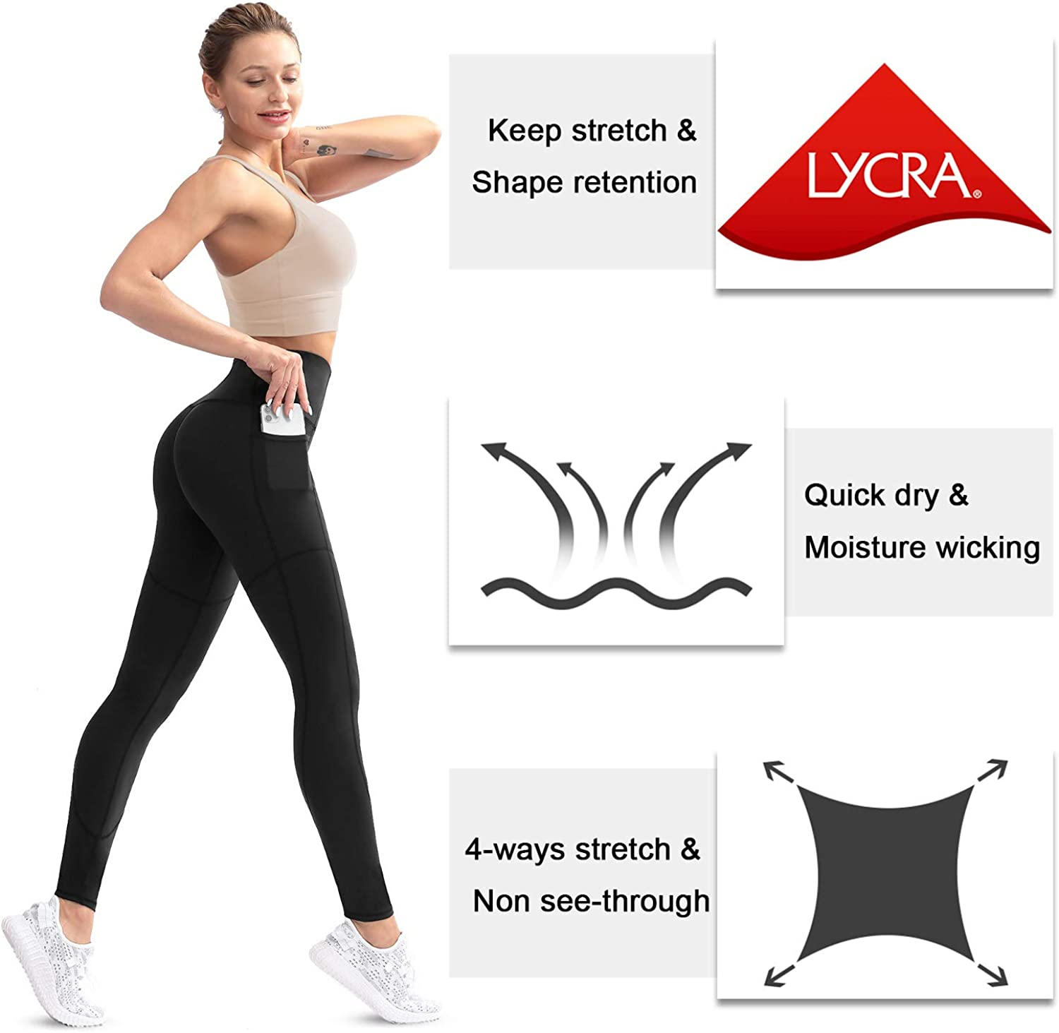 KVIONE Women High Waist Yoga Pants with Pockets Workout Gym Leggings with Tummy Control 4 Ways Stretch Leggings
