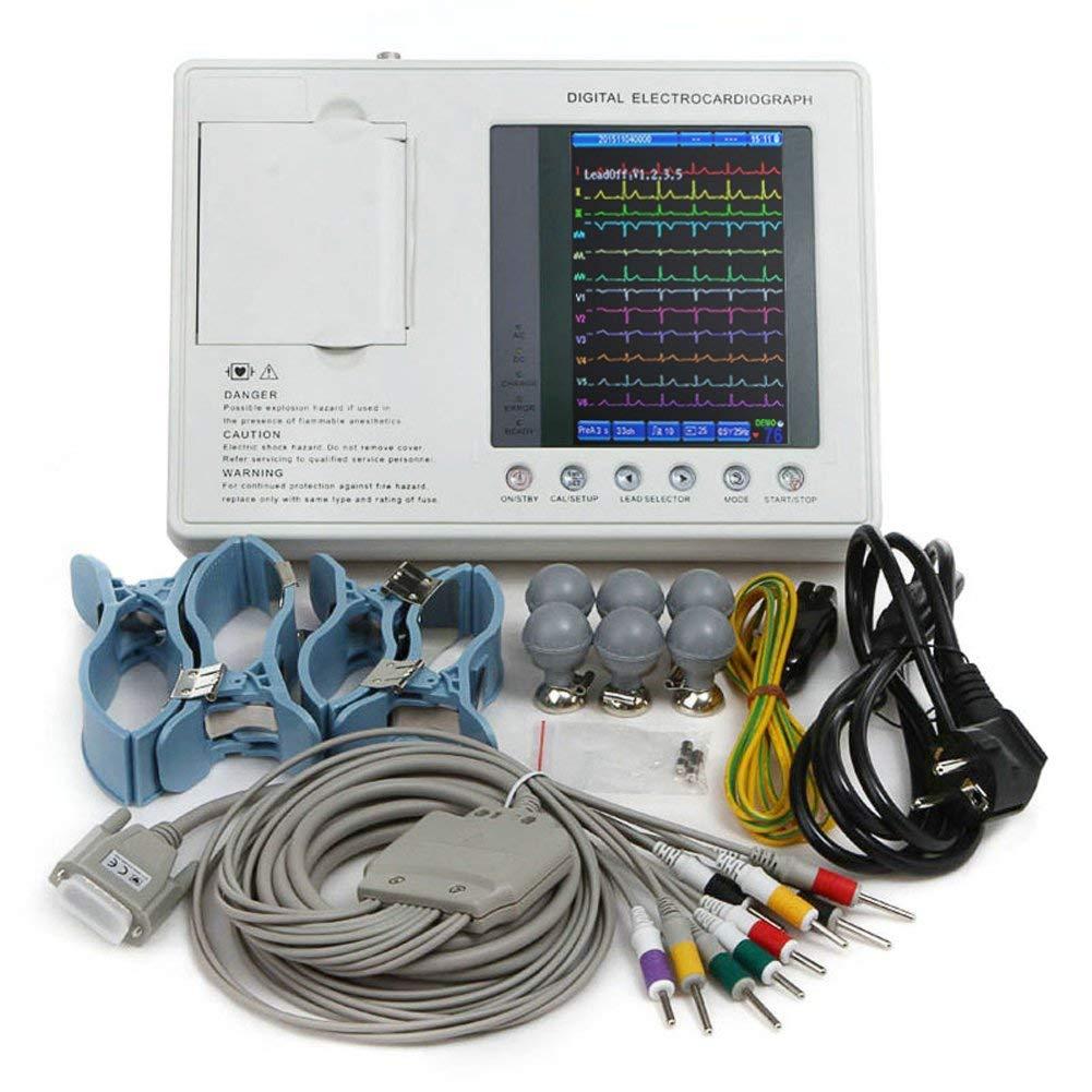Electrocardiografo a color LCD de 7 pulgadas máquina digital portátil ECG máquina ECG con 3 canales 12 derivaciones