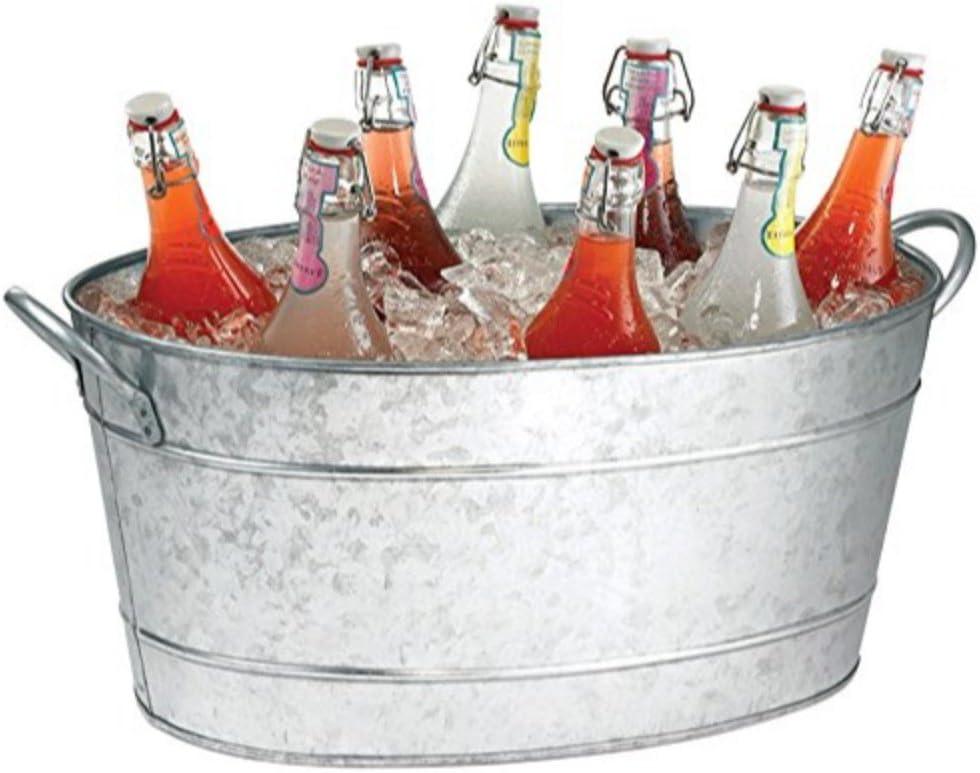 Benzara AMC0001 Beverage Tub with Handles, Gray