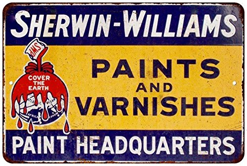 Sherwin Williams Paints   Varnishes Vintage Look Reproduction Sign 8X12 8122238