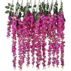 Mydio 6 Pack 3.18 Feet Artificial Flowers Silk Wisteria Vine Ratta Hanging Flower for Party Wedding Decor 11