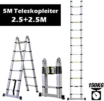 rendio 5 m aluminio escalera telescópica – Escalera extensible Escalera multiusos Escalera de aluminio telescópica (de alta calidad aluminio telescópico de diseño 150 kg carga, 8 x 8 peldaños: Amazon.es: Bricolaje y herramientas