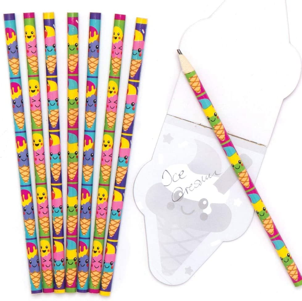 for Kids Party Purses and Small Toys for Children Assorted Pack of 12 Baker Ross AT961 Ice Cream Pencils