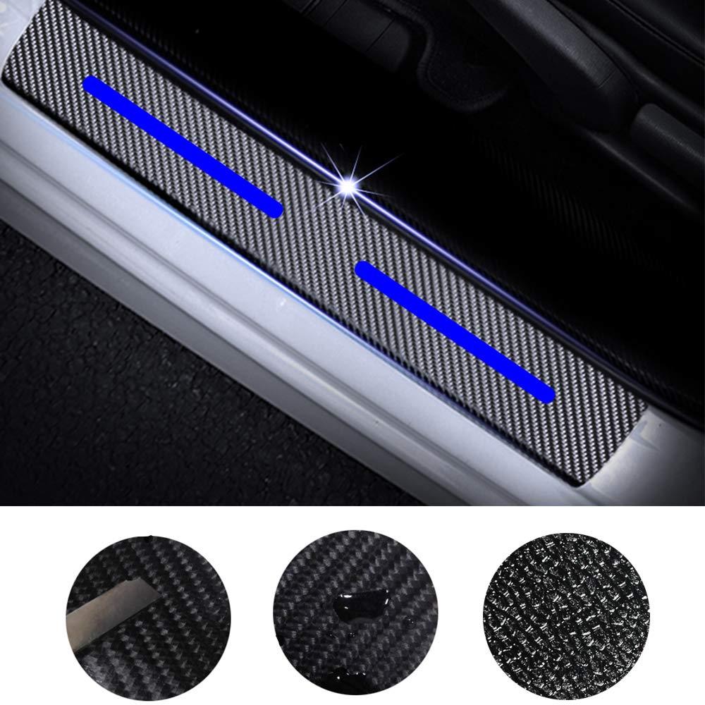 Tuqiang 4 Pezzi Auto Porta Davanzale Adesivo 3D Fibra di Carbonio Pedale Soglia Antigraffio Adesivo di Protezione per A1 A3 A4