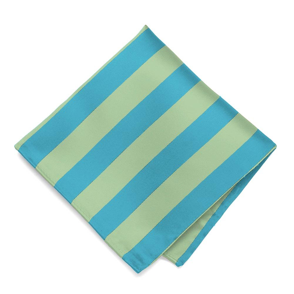 TieMart Turquoise and Clover Green Striped Pocket Square