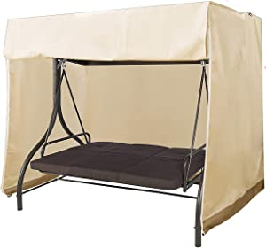 "Mitef Waterproof and Dustproof Garden Swing Cover, Outdoor Furniture Protective Cover, 223x152x183cm/87.7"" x59.8 x72, Beige and Brown"