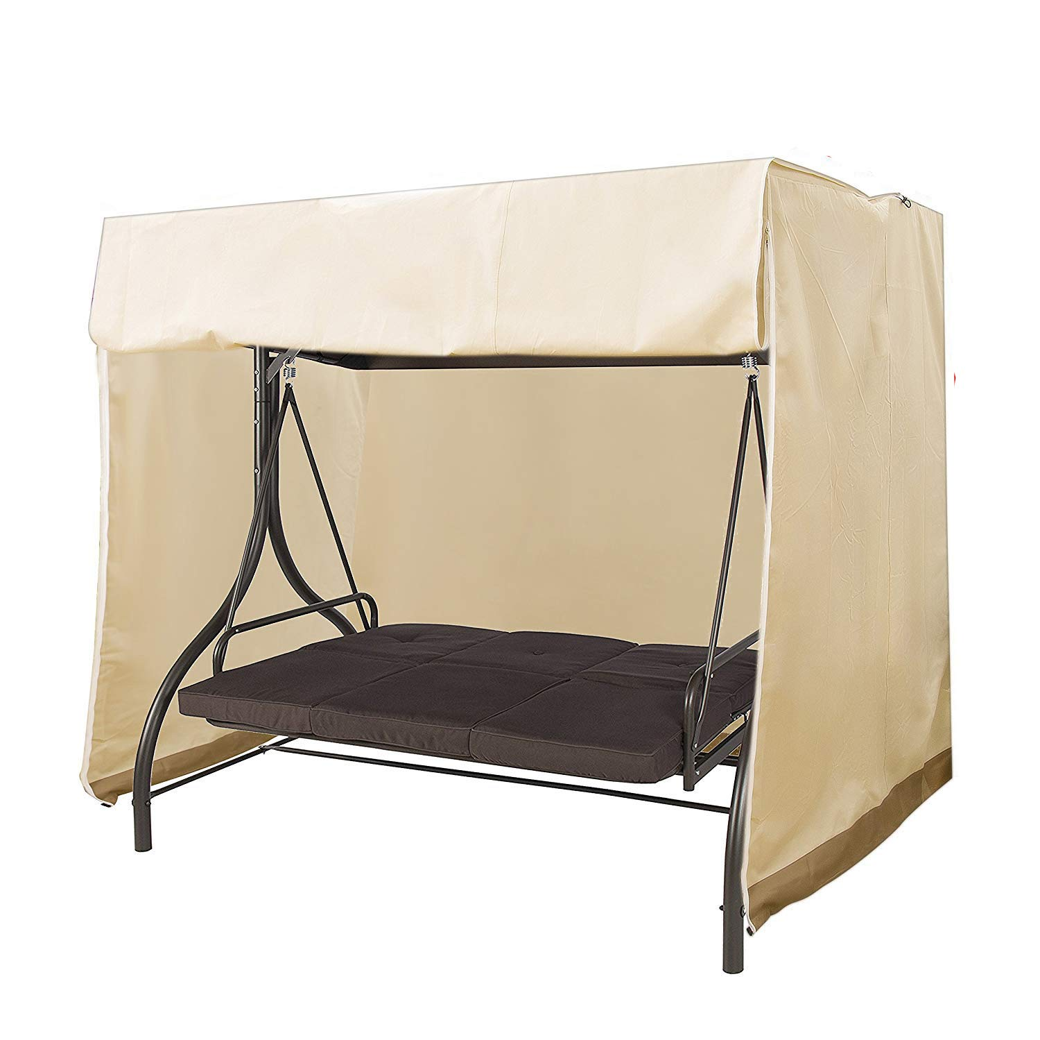 Mitef Waterproof and Dustproof Garden Swing Cover, Outdoor Furniture Protective Cover, 223x152x183cm/87.7'' x59.8 x72, Beige and Brown