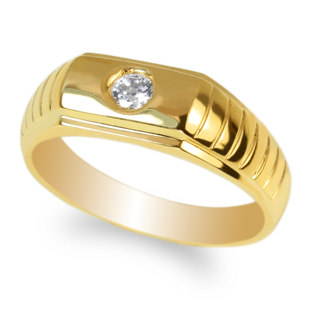 JamesJenny Mens 10K Yellow Gold 0.16ct Round CZ Fancy Solid Band Ring Size 7-12