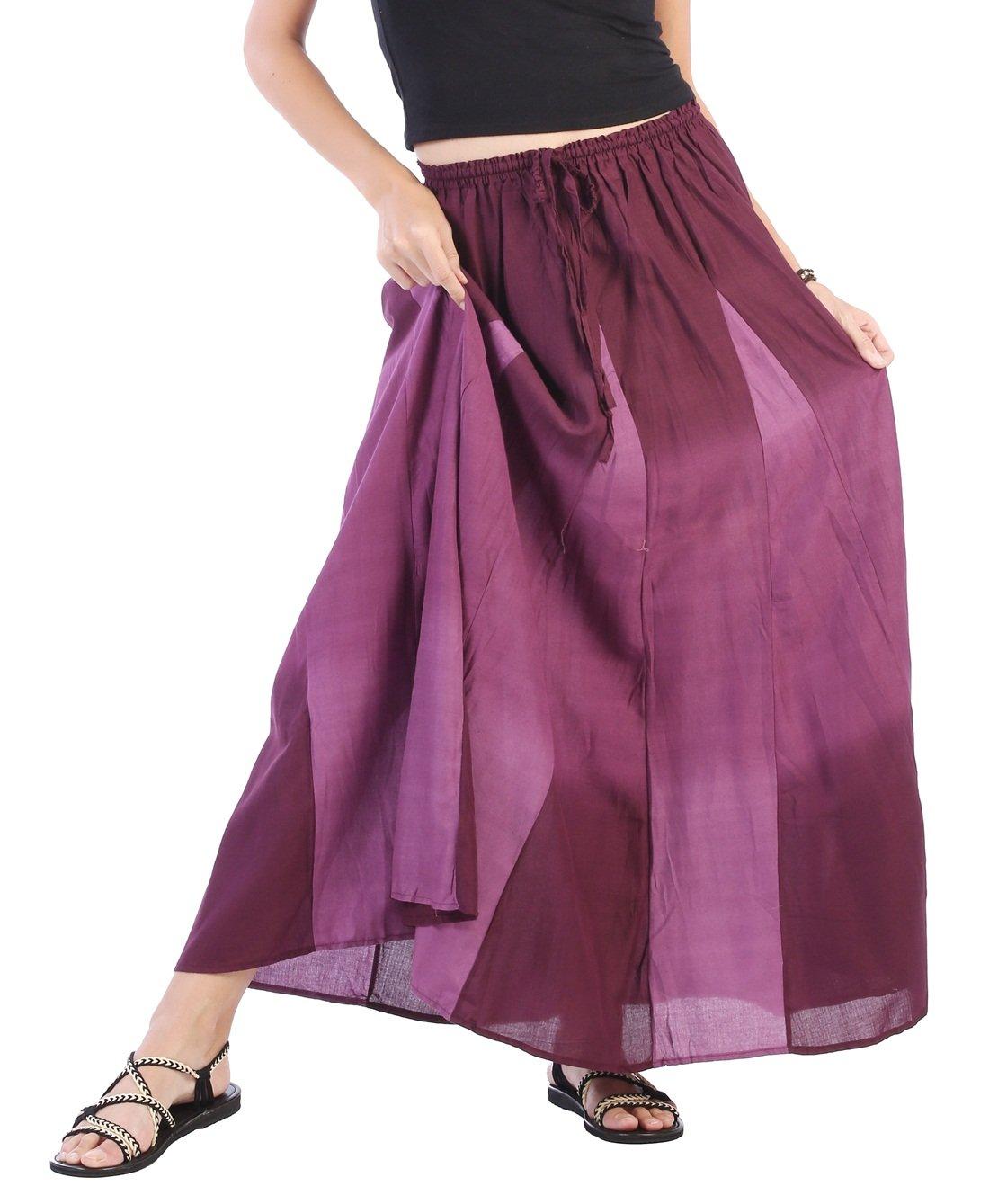 CandyHusky Women's Tie Dye Long Bohemian Hippie Gypsy Casual Skirt US Size XS-L (Dark Purple)