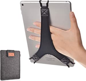 TFY Protective Carrying Pouch Bag (Dark Grey), Plus Bonus Hand Strap Holder for for 9 - 10 Inch Tablets - iPad Air / iPad Pro 9.7