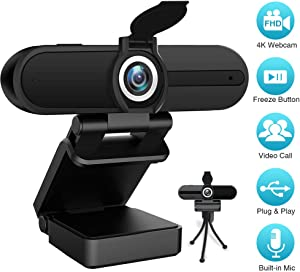 Full HD Webcam 4K/1080P- Laptop PC Desktop Computer Web Camera with Microphone, USB Webcams for Video Calling Recording Streaming Video Conference, Webcam with Mini Tripod,Privacy Shutter