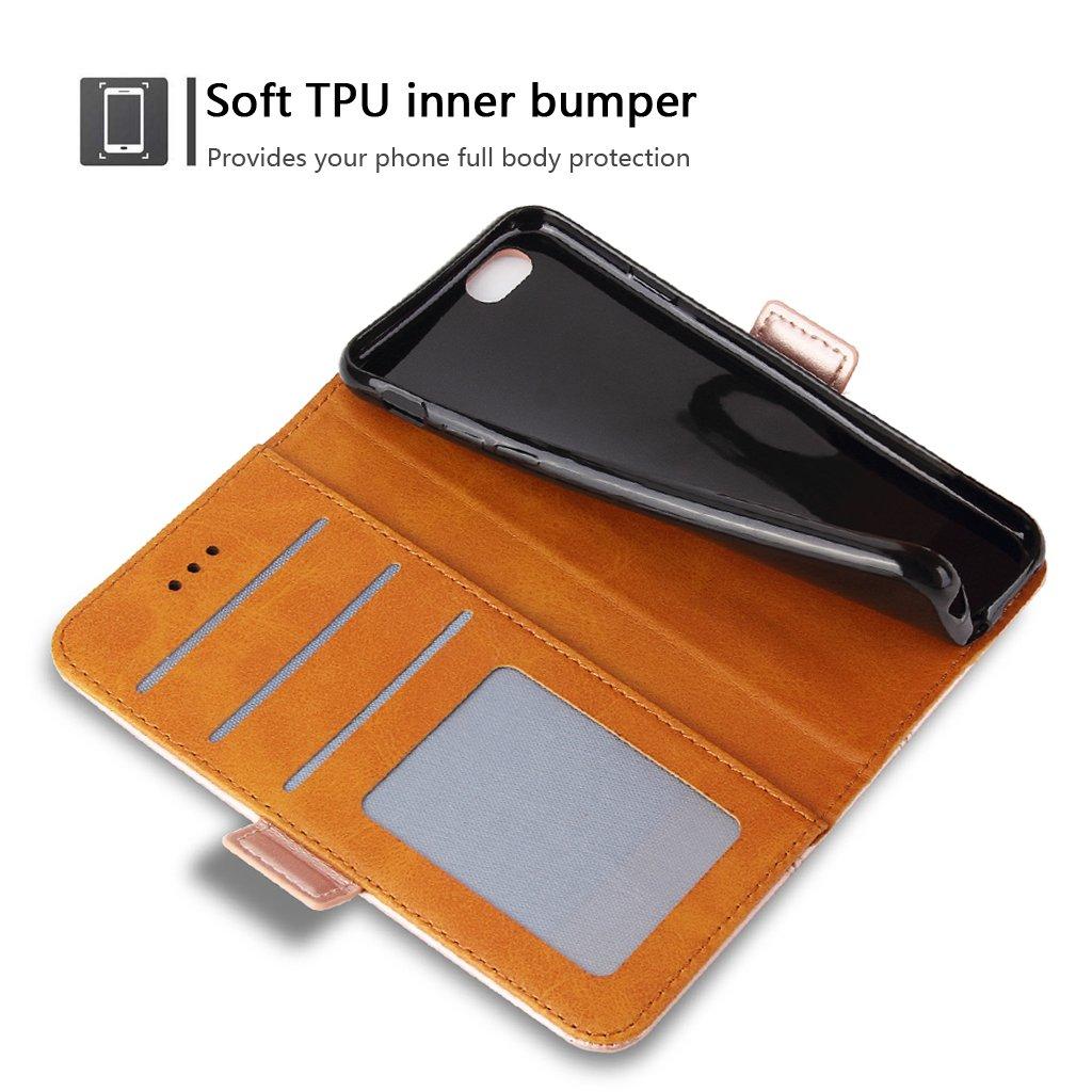 Bozon iPhone 7 H/ülle iPhone 8 H/ülle Leder Tasche Handyh/ülle Flip Wallet Schutzh/ülle f/ür iPhone 7//8 mit St/änder und Kartenf/ächer//Magnetverschluss Braun