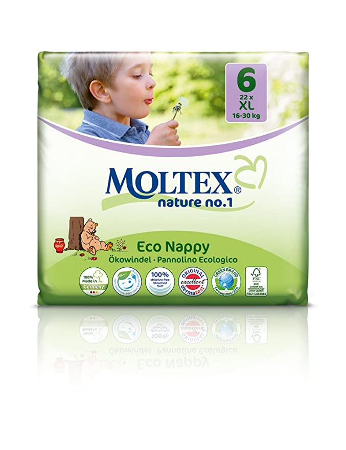 Moltex Nature No1 Eco Nappy XL Size 6 (16-30 kg/35-66 lb)--Pack of 27 Nappies by Ontex: Amazon.es: Salud y cuidado personal