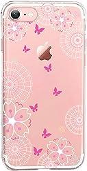 Girlscases® | iPhone 8/7 Hülle | Im Schmetterling Blumen Motiv Muster | in rosa pink | Fashion Case transparente Schutzhülle aus Silikon