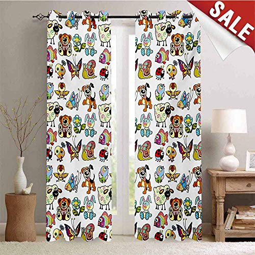 (Hengshu Nursery Thermal Insulating Blackout Curtain Collection of Cartoon Animals Adorable Funny Toy Figures Play Time Childhood Theme Blackout Draperies for Bedroom W96 x L96 Inch Multicolor)