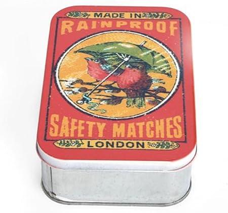 Vintage diseño Retro caja de cerillas de almacenamiento lata. Abalorios. Fiambrera.: Amazon.es: Hogar