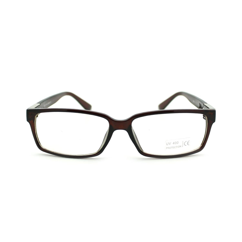 Unisex Classic Narrow Rectangular Metal Hinge Clear Lens Eye Glasses