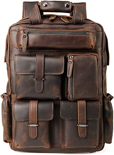 Men s Vintage Leather Travel Casual Outdoor Multi-Pockets 15.6 Inch Laptop Backpack Shoulder Bag Brown