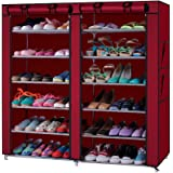 Fabric Shoe Rack Organizer Cabinet Closet with Double Door Cover Dustproof for Home Red 7 Layers 12 Lattices