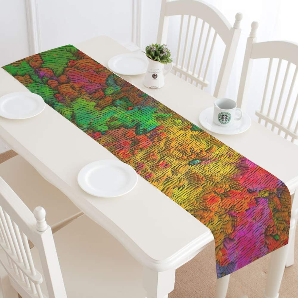 Color Template Abstract Art Texture Table Runner, Kitchen Dining Table Runner 16 X 72 Inch For Dinner Parties, Events, Decor by RYUIFI (Image #2)