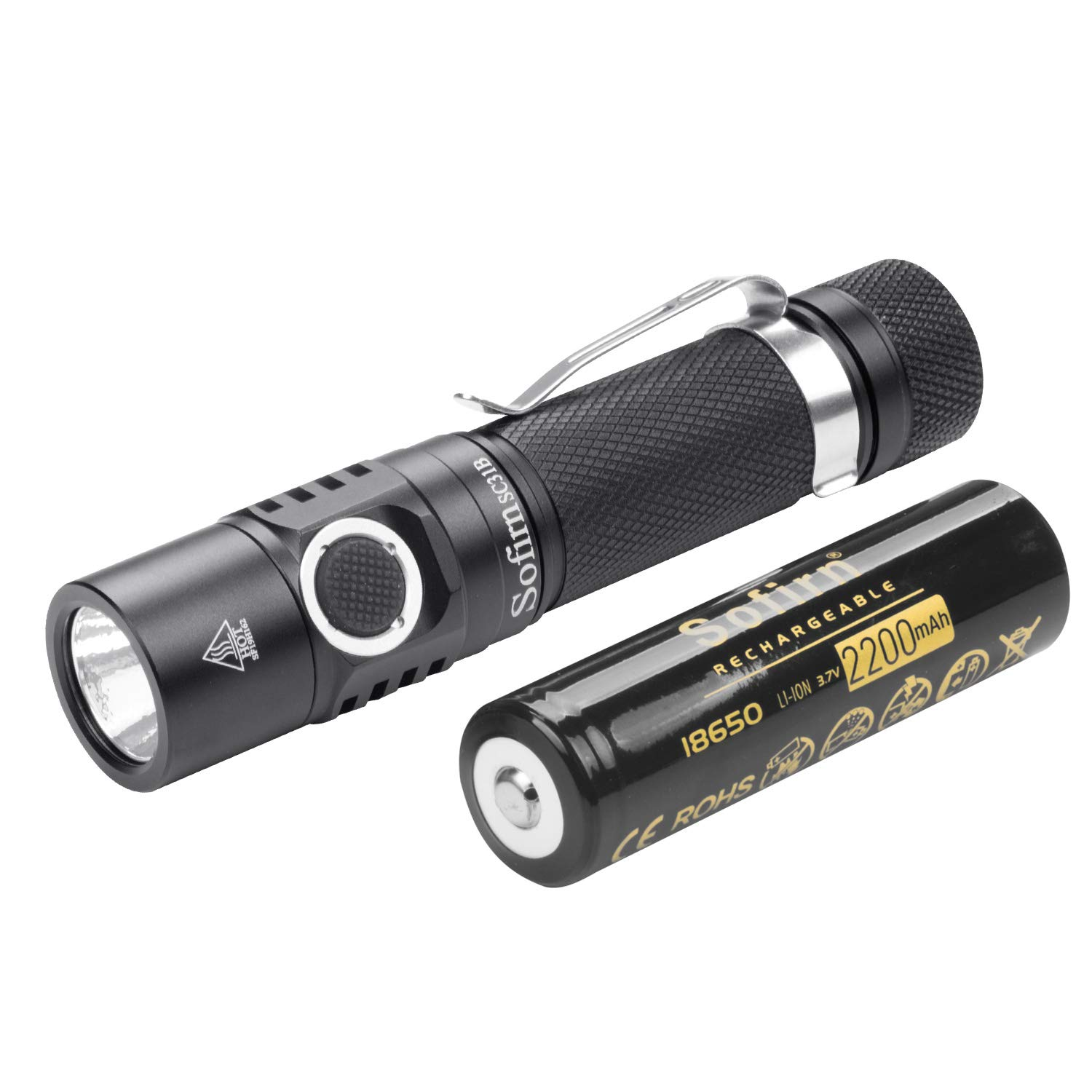 Sofirn 1000 Lumens Rechargeable LED Flashlight 18650 Battery Included, Super Bright EDC Pocket Light High Lumens, 5 Modes for Camping Hiking, SC31B