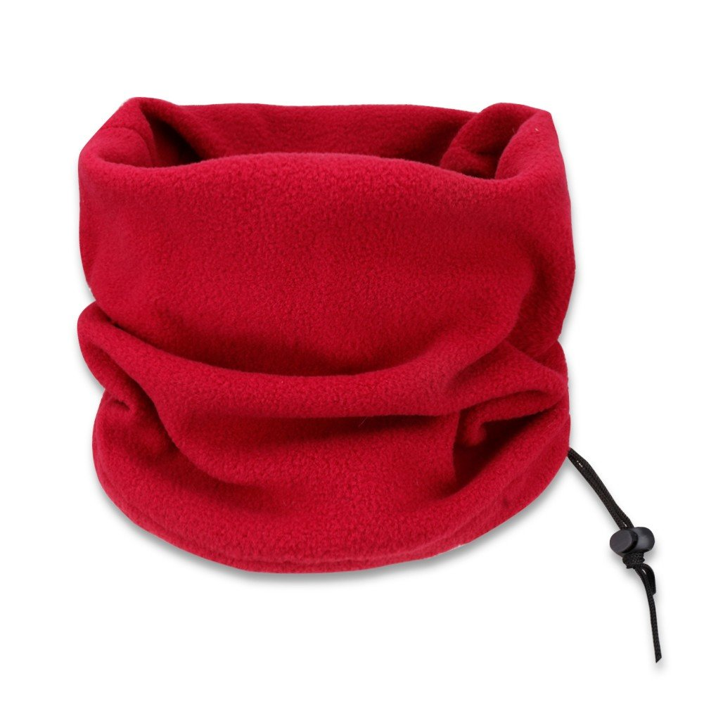 FEESHOW Velvet Neck Warmer, Winter Super Soft and Stretchy Neck Gaiter with Drawstring Wine Red One Size
