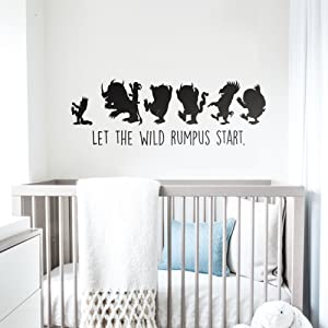 """DESIGNER PLAYGROUND Where The Wild Things are Max Marching with Monsters Silhouette Wall Decal (45"""" x 15"""") MT038"""