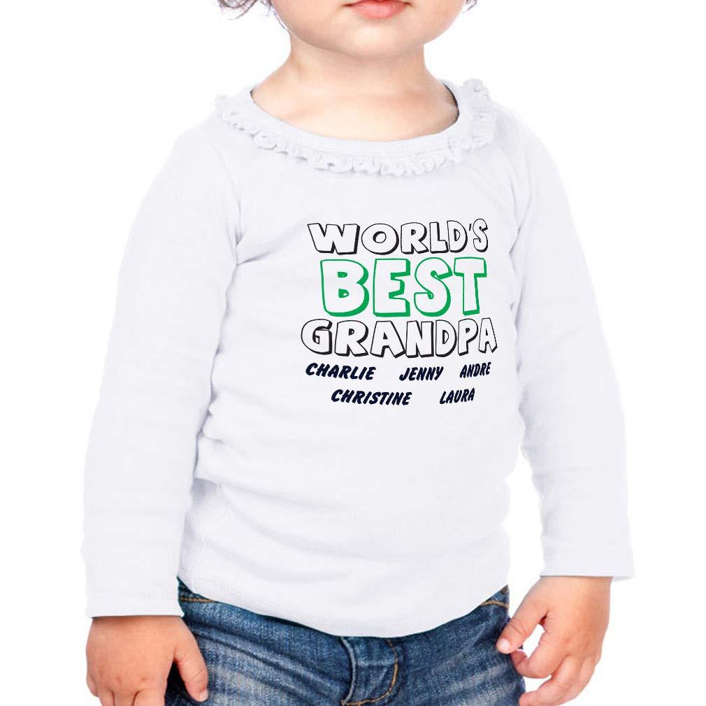 Worlds Best Grandpa2 Cotton Girl Toddler Long Sleeve Ruffle Shirt Top