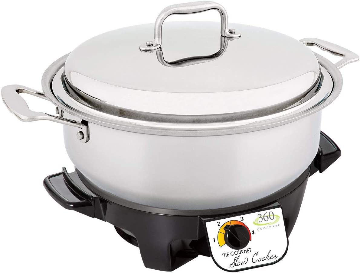 360 Stainless Steel Slow Cooker, 6 Quart Stock Pot is Induction Cookware, Waterless Cookware, Dishwasher Safe, Oven Safe, Surgical Grade Stainless Steel Cookware. Electric Slow Cooker Base Included.