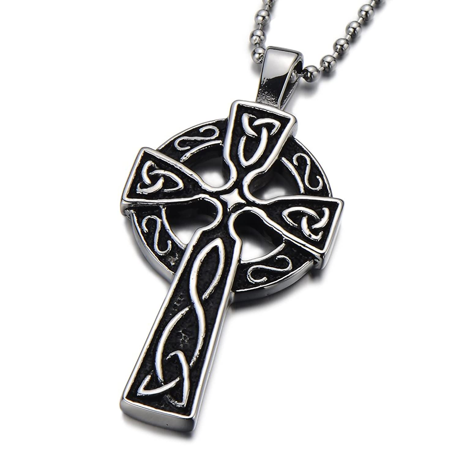 silver satin pendant celtic irish sterling cross antiqued