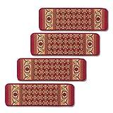 Non-slip Stair Carpets - Set Of 4 Burgundy, Burgundy