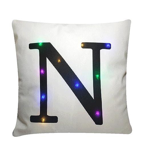 Nunubee Funda de Cojín LED Luces Colores Party Decoración de ...