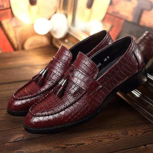 Sunny&Baby PU Cuir Chaussures à Talon Bloc Snake Peau Texture Supérieure Mocassins Slip-on Doublés Oxfords Résistant à l'abrasion (Color : du vin, Taille : 44 EU) Du Vin