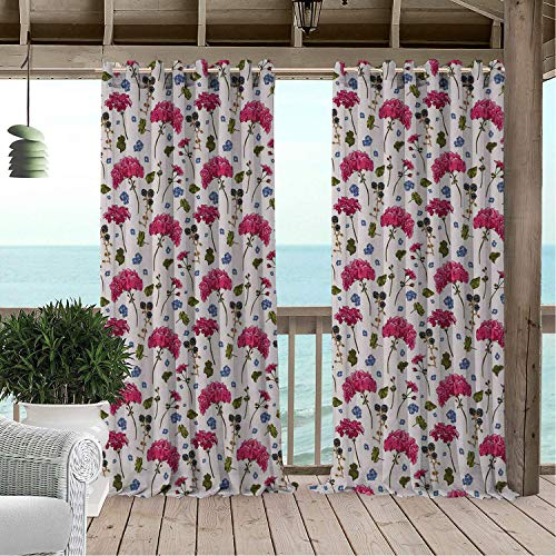 Linhomedecor Patio Waterproof Curtain Geranium Wild Botanical Herbs BlackBerry Harvest Blooming Flora Print Olive Green Violet Blue Magenta Porch Grommet Party Curtains 108 by 84 inch