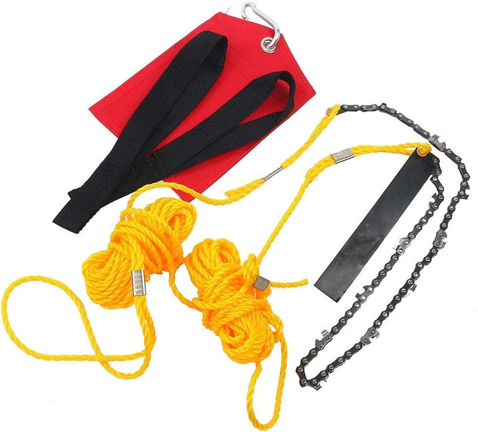 Hand Chain Saw, High Limb Tree Branch Cutting Tool 24 Inch Folding Outdoor Survival Gear with Two Ropes for Garden Camping Hiking Hunting