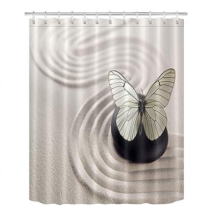 LB Butterfly On Black Zen Stone Sand Garden Shower Curtain For Stall Asian