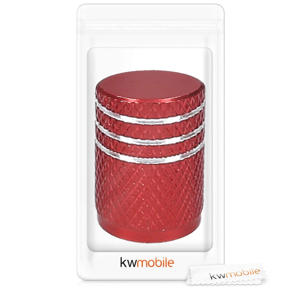 kwmobile 5en1 Tapas de Metal para v/álvula de neum/áticos de Coche Moto Bicicleta Juego de Tapas de v/álvula en Naranja
