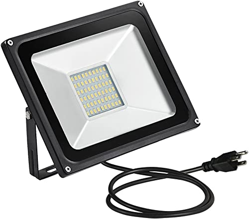 TOHUU 50W LED Flood Light with Plug,5000LM Super Bright Security Lights,2800-3200K Warm White LED Work Light,IP65 Waterproof Outdoor Landscape Floodlight for Yard Garden Playground Party