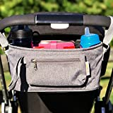 Baby Stroller Organizer by BabyBubz - Premium New Sleek Design - Durable Cup Holders - Universal Fit - Tons of Storage for Phones, Keys, Diapers, Baby Toys, Snacks, Accessories - Best Shower Gift