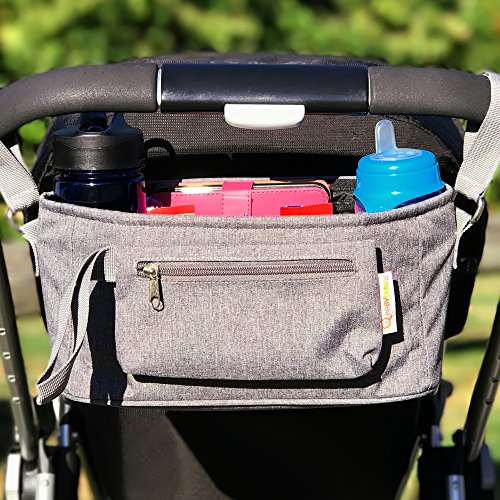Baby Stroller Organizer by BabyBubz - Premium New Sleek Design - Durable Cup Holders - Universal Fit - tons of Storage for Phones, Keys, Diapers, Baby Toys, Snacks, Accessories - Best Shower Gift by BabyBubz (Image #1)