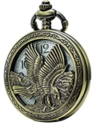 SEWOR Retro Quartz Pocket Watch White Dial Bronze Case with Two Chains Leather & Metal (Eagle)