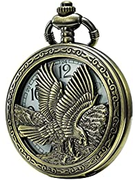 Retro Quartz Pocket Watch White Dial Bronze Case with Two Chains Leather & Metal (Eagle)