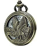 SEWOR Retro Quartz Pocket Watch White Dial Bronze Case Smooth With Two Type Style (Eagle)