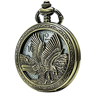 SEWOR Retro Quartz Pocket Watch White Dial Bronze Case with Two Chains Leather & Metal